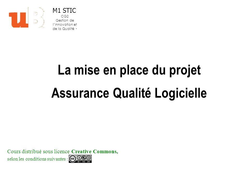 La mise en place du projet Assurance Qualité Logicielle Cours distribué sous licence Creative Commons, selon les conditions suivantes : M1 STIC CG2 Gestion de lInnovation et de la Qualité -