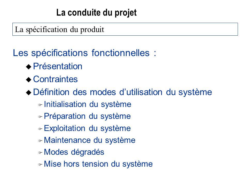 La conduite du projet Les spécifications fonctionnelles : u Présentation u Contraintes u Définition des modes dutilisation du système F Initialisation