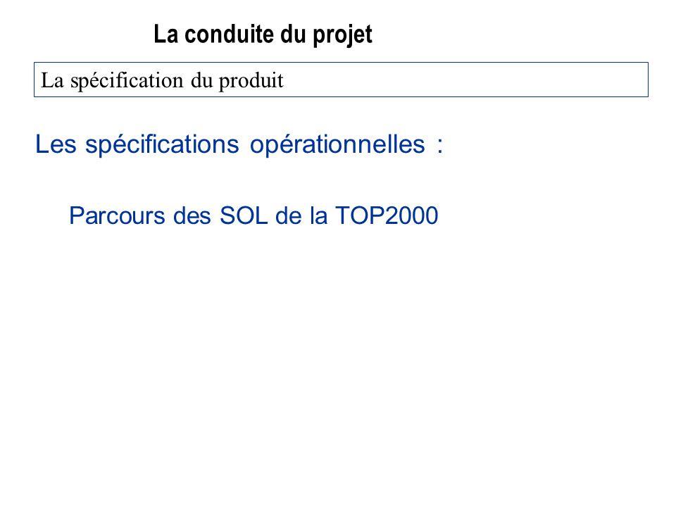 La conduite du projet Les spécifications opérationnelles : Parcours des SOL de la TOP2000 La spécification du produit