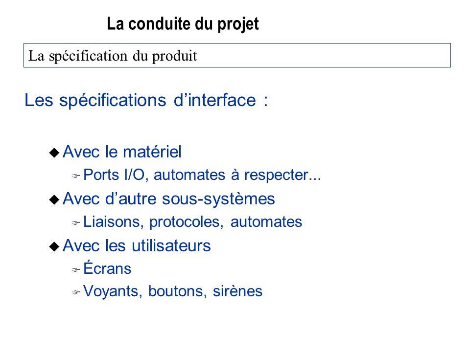 La conduite du projet Les spécifications dinterface : u Avec le matériel F Ports I/O, automates à respecter... u Avec dautre sous-systèmes F Liaisons,
