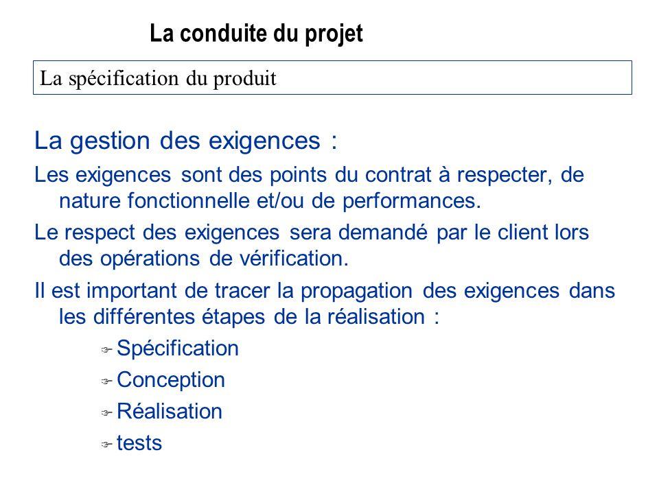 La conduite du projet La gestion des exigences : Les exigences sont des points du contrat à respecter, de nature fonctionnelle et/ou de performances.