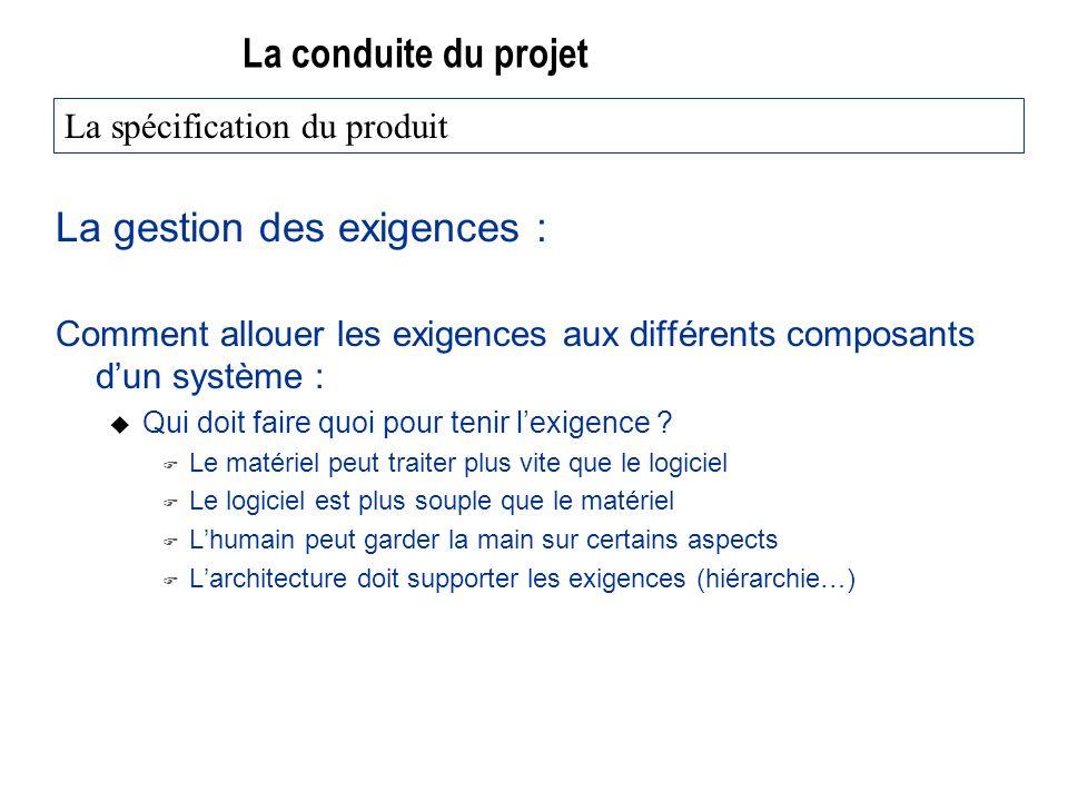 La conduite du projet La gestion des exigences : Comment allouer les exigences aux différents composants dun système : u Qui doit faire quoi pour tenir lexigence .