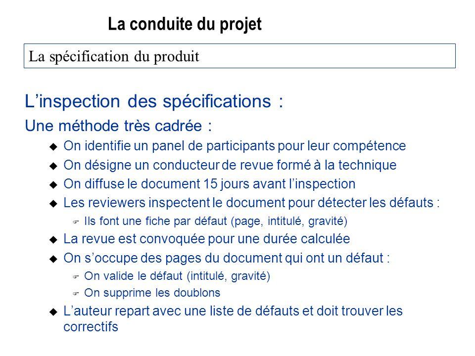 La conduite du projet Linspection des spécifications : Une méthode très cadrée : u On identifie un panel de participants pour leur compétence u On dés