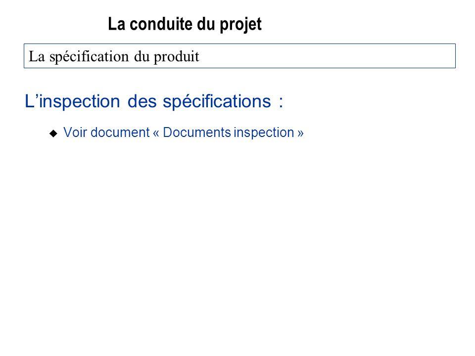 La conduite du projet Linspection des spécifications : u Voir document « Documents inspection » La spécification du produit
