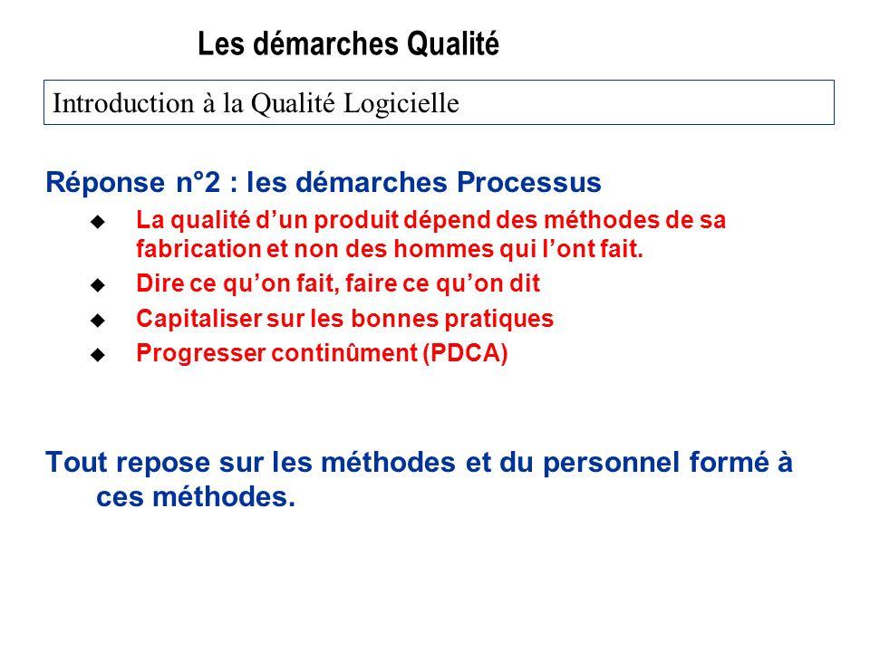 Les démarches Qualité Réponse n°2 : les démarches Processus u La qualité dun produit dépend des méthodes de sa fabrication et non des hommes qui lont