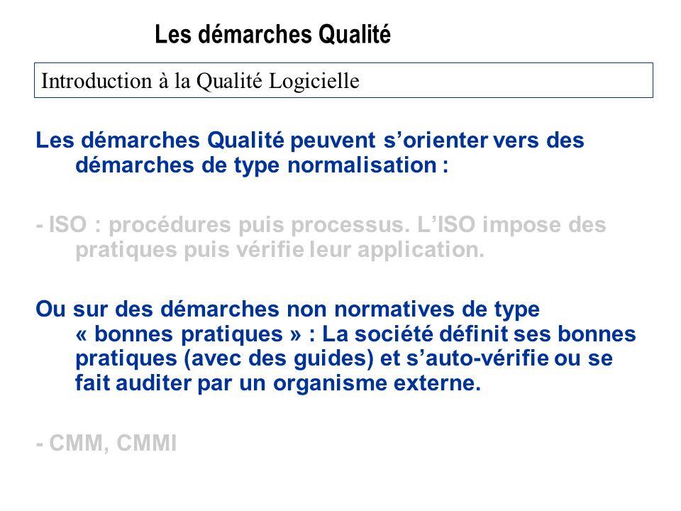 Les démarches Qualité Les démarches Qualité peuvent sorienter vers des démarches de type normalisation : - ISO : procédures puis processus.