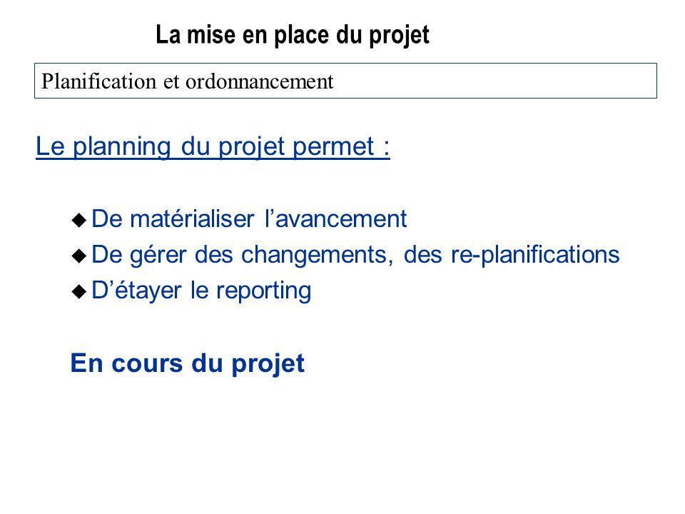 La mise en place du projet Le planning du projet permet : u De matérialiser lavancement u De gérer des changements, des re-planifications u Détayer le