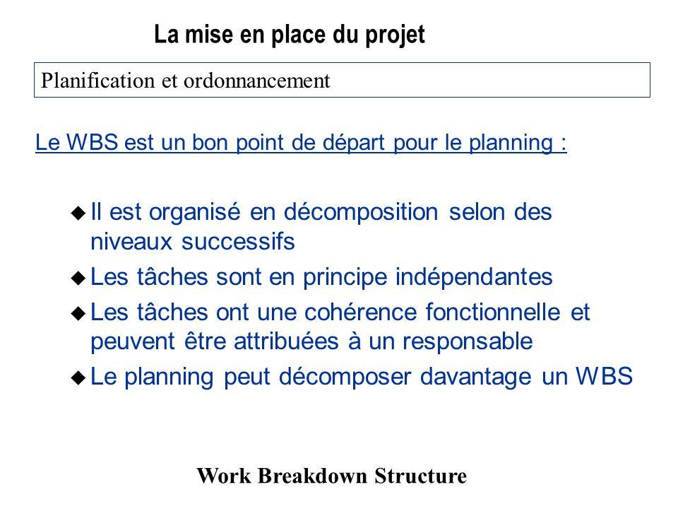 La mise en place du projet Le WBS est un bon point de départ pour le planning : u Il est organisé en décomposition selon des niveaux successifs u Les tâches sont en principe indépendantes u Les tâches ont une cohérence fonctionnelle et peuvent être attribuées à un responsable u Le planning peut décomposer davantage un WBS Planification et ordonnancement Work Breakdown Structure