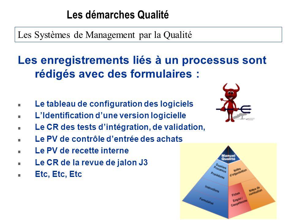 Les démarches Qualité Les enregistrements liés à un processus sont rédigés avec des formulaires : n Le tableau de configuration des logiciels n LIdent