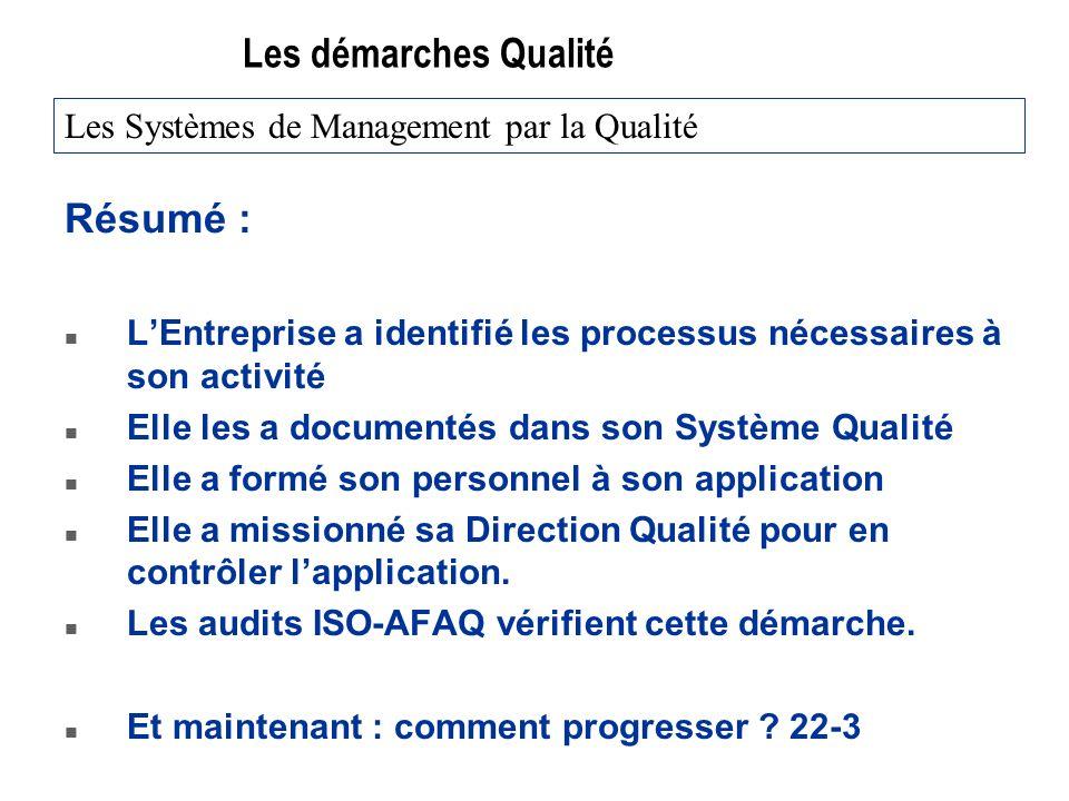 Les démarches Qualité Résumé : n LEntreprise a identifié les processus nécessaires à son activité n Elle les a documentés dans son Système Qualité n E