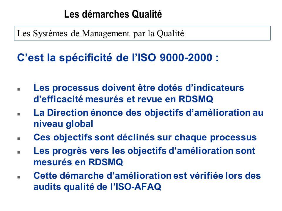 Les démarches Qualité Cest la spécificité de lISO 9000-2000 : n Les processus doivent être dotés dindicateurs defficacité mesurés et revue en RDSMQ n La Direction énonce des objectifs damélioration au niveau global n Ces objectifs sont déclinés sur chaque processus n Les progrès vers les objectifs damélioration sont mesurés en RDSMQ n Cette démarche damélioration est vérifiée lors des audits qualité de lISO-AFAQ Les Systèmes de Management par la Qualité