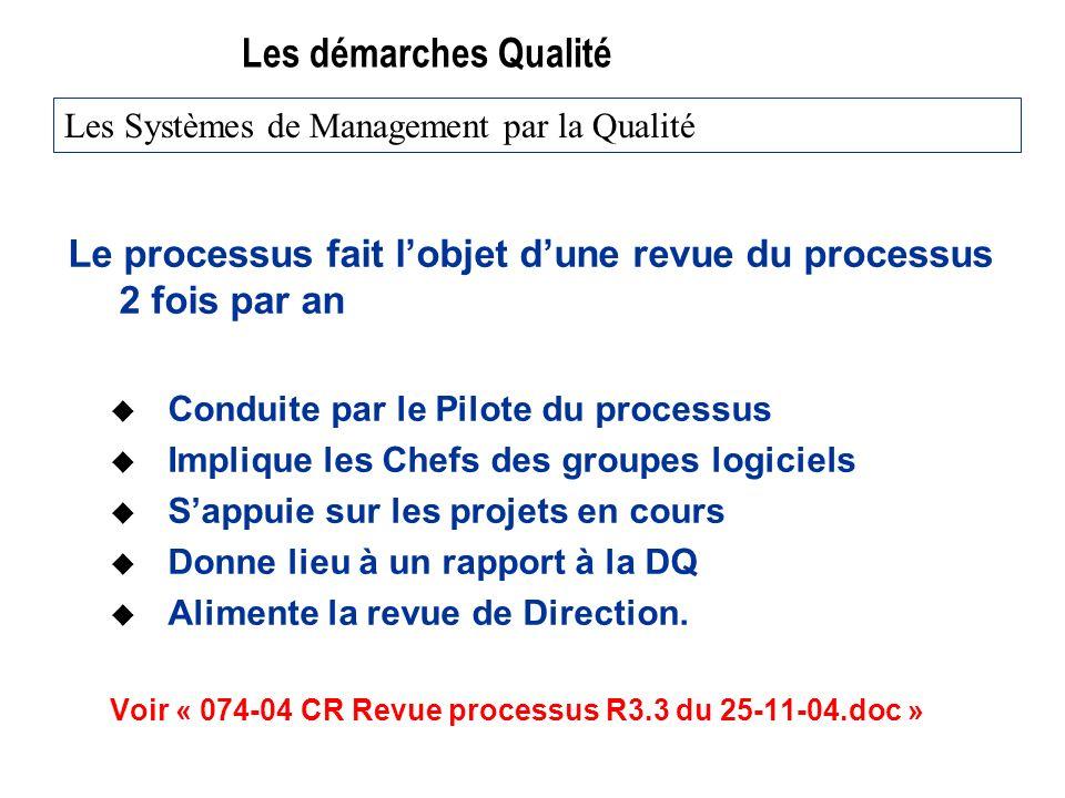 Les démarches Qualité Le processus fait lobjet dune revue du processus 2 fois par an u Conduite par le Pilote du processus u Implique les Chefs des gr