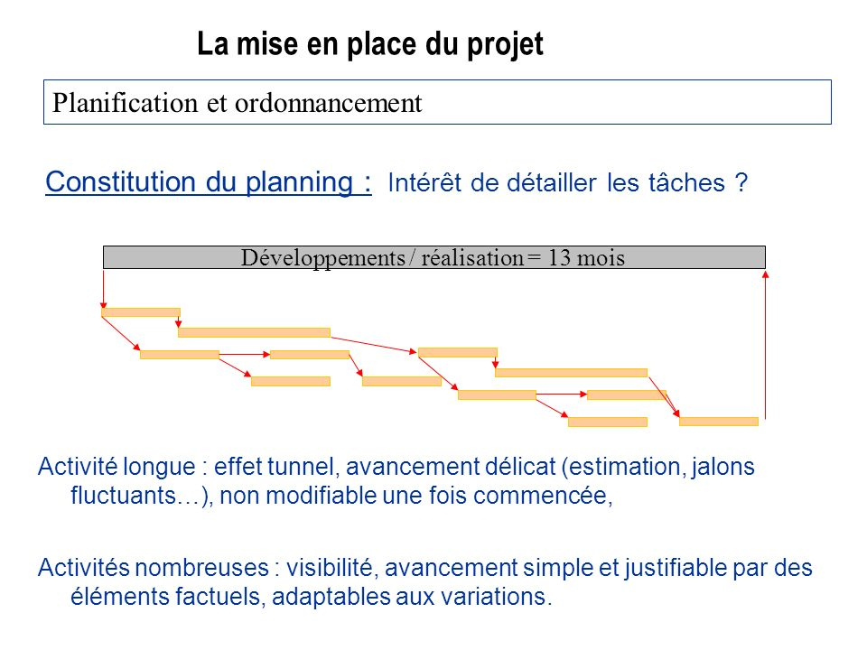 La mise en place du projet Constitution du planning : Intérêt de détailler les tâches ? Planification et ordonnancement Développements / réalisation =