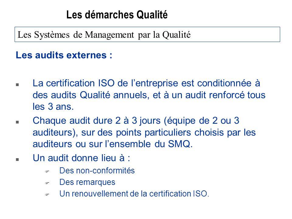 Les démarches Qualité Les audits externes : n La certification ISO de lentreprise est conditionnée à des audits Qualité annuels, et à un audit renforcé tous les 3 ans.