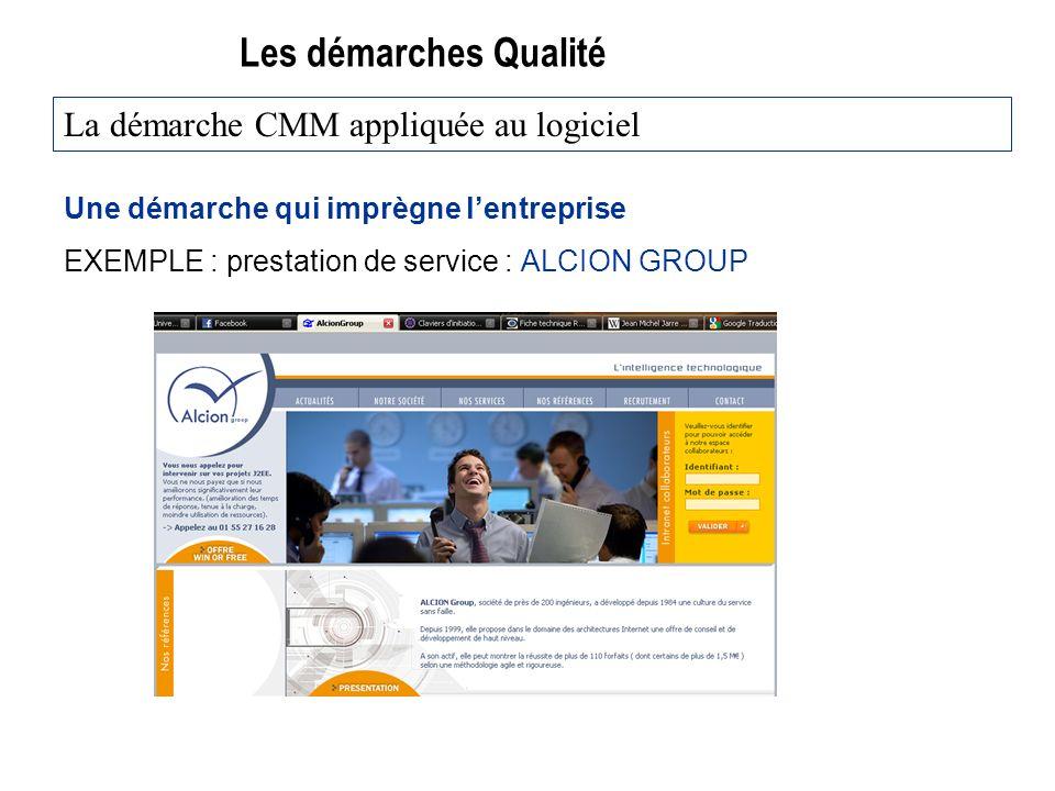 Les démarches Qualité Une démarche qui imprègne lentreprise EXEMPLE : prestation de service : ALCION GROUP La démarche CMM appliquée au logiciel