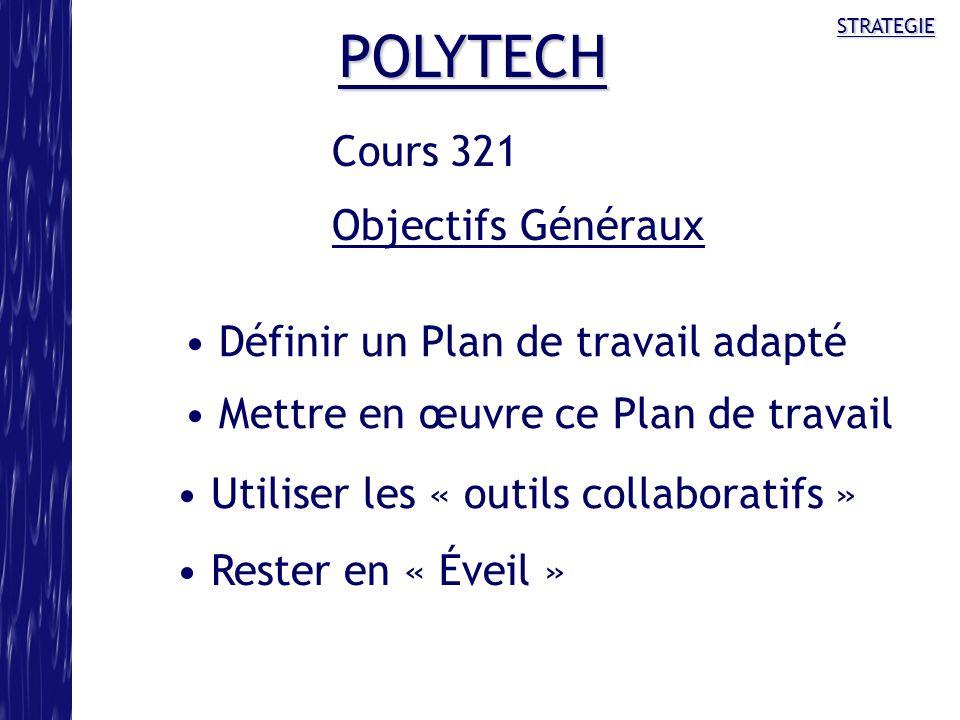 STRATEGIE POLYTECH Définir un Plan de travail adapté Mettre en œuvre ce Plan de travail Utiliser les « outils collaboratifs » Rester en « Éveil » Cour