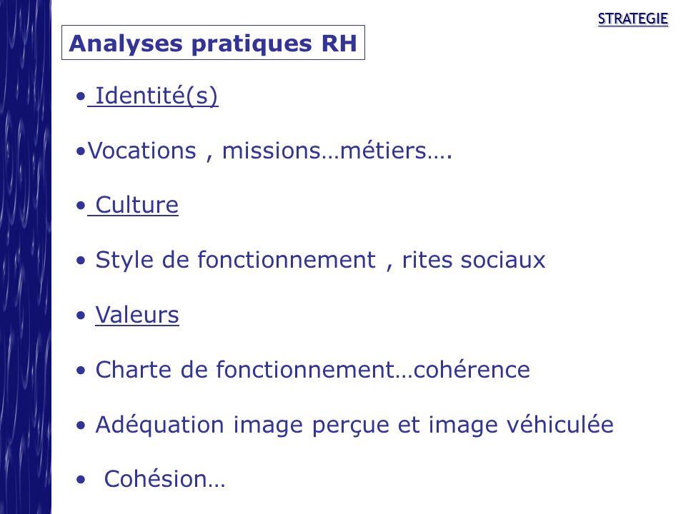 STRATEGIESTRATEGIE Analyses pratiques RH Identité(s) Vocations, missions…métiers…. Culture Style de fonctionnement, rites sociaux Valeurs Charte de fo