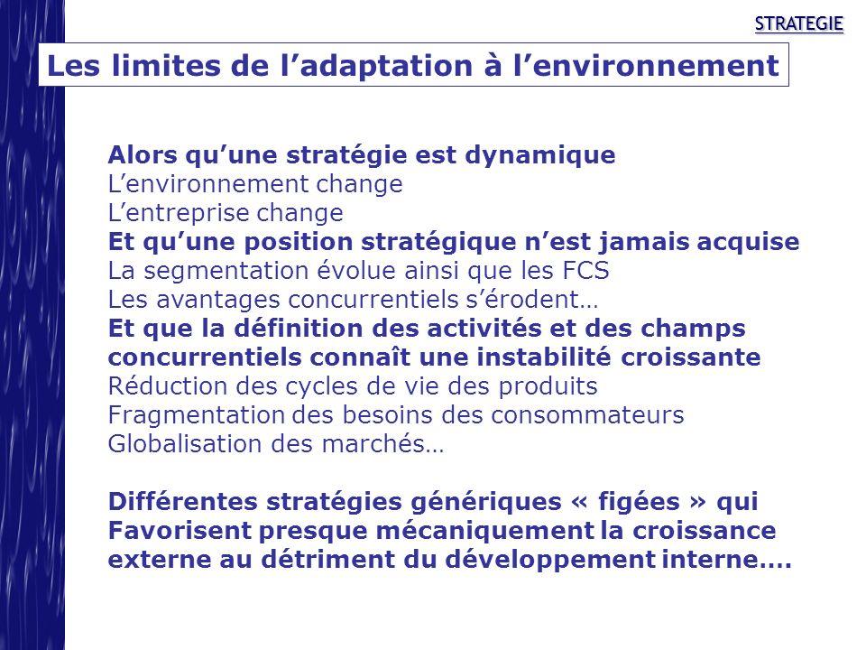 STRATEGIESTRATEGIE Les limites de ladaptation à lenvironnement Alors quune stratégie est dynamique Lenvironnement change Lentreprise change Et quune p