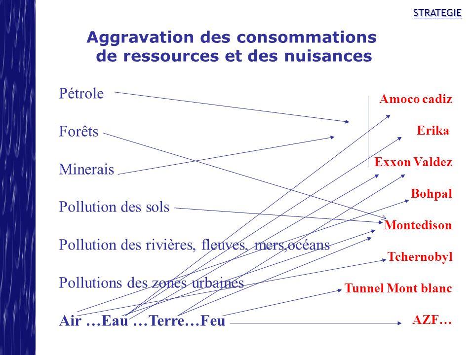 STRATEGIE Aggravation des consommations de ressources et des nuisances Pétrole Forêts Minerais Pollution des sols Pollution des rivières, fleuves, mer