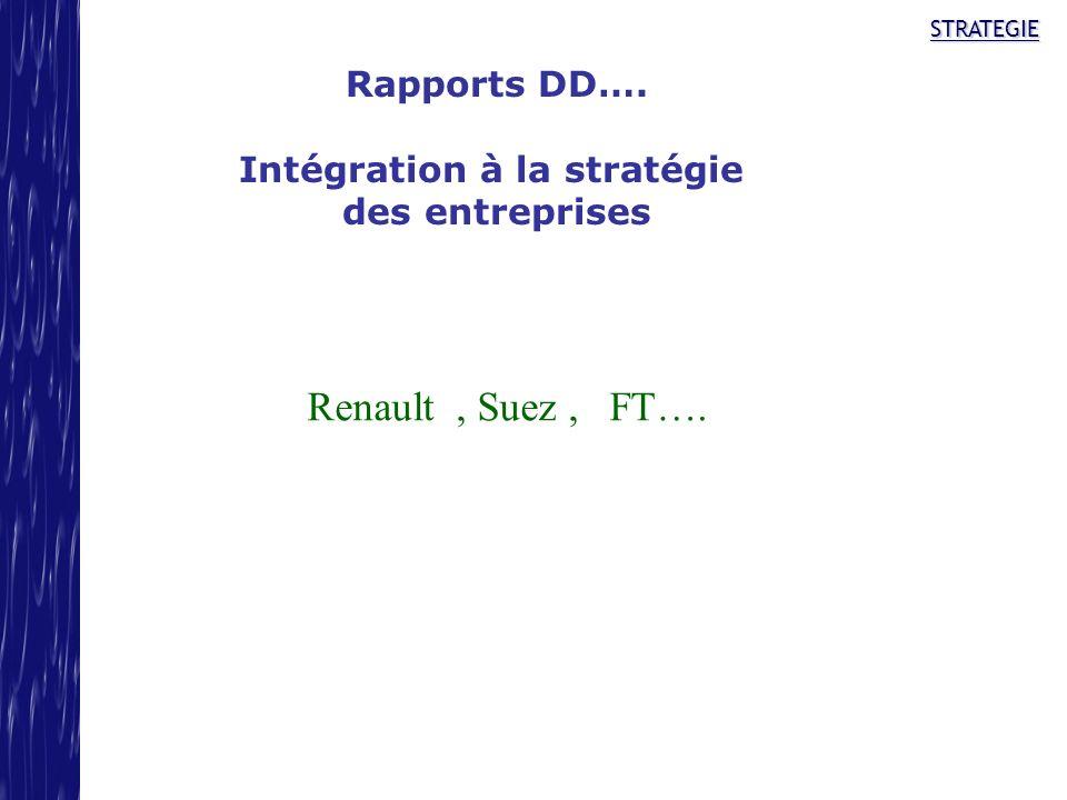 STRATEGIE Rapports DD…. Intégration à la stratégie des entreprises Renault, Suez, FT….