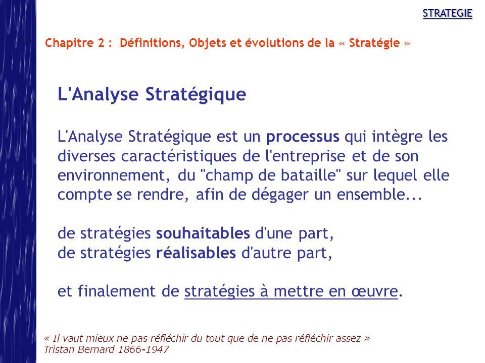 STRATEGIE « Il vaut mieux ne pas réfléchir du tout que de ne pas réfléchir assez » Tristan Bernard 1866-1947 STRATEGIE L'Analyse Stratégique L'Analyse