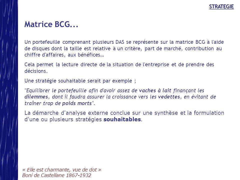 STRATEGIE « Elle est charmante, vue de dot » Boni de Castellane 1867-1932 STRATEGIE Matrice BCG... Un portefeuille comprenant plusieurs DAS se représe