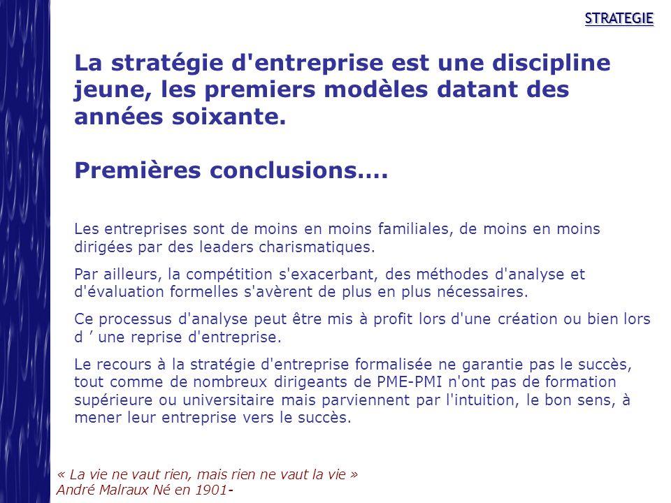 STRATEGIE « La vie ne vaut rien, mais rien ne vaut la vie » André Malraux Né en 1901- STRATEGIE La stratégie d'entreprise est une discipline jeune, le