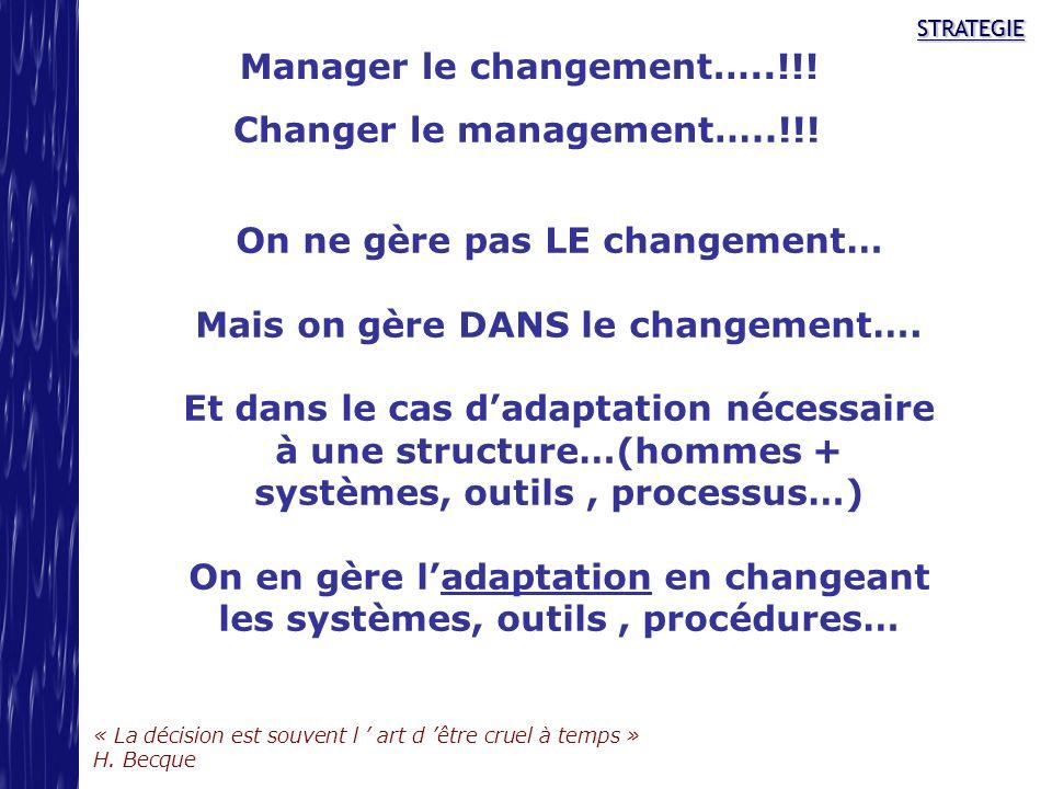 STRATEGIE « La décision est souvent l art d être cruel à temps » H. Becque STRATEGIE Manager le changement…..!!! On ne gère pas LE changement… Mais on