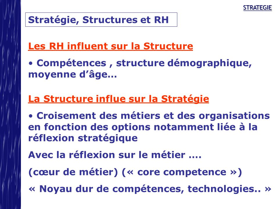 STRATEGIESTRATEGIESTRATEGIE Stratégie, Structures et RH Les RH influent sur la Structure Compétences, structure démographique, moyenne dâge… La Struct