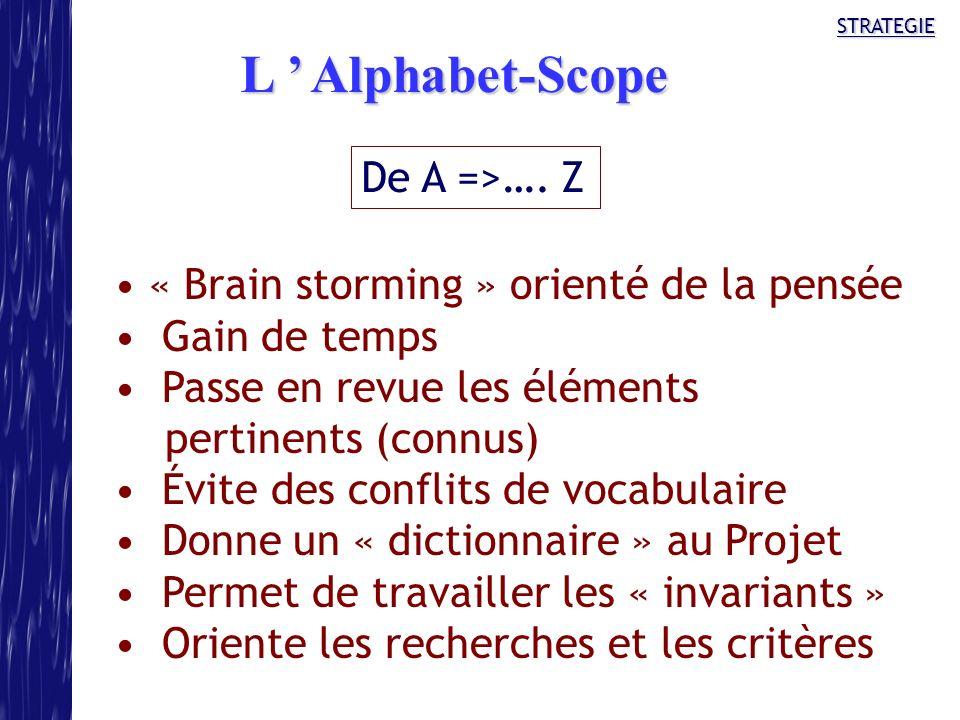 STRATEGIE De A =>…. Z « Brain storming » orienté de la pensée Gain de temps Passe en revue les éléments pertinents (connus) Évite des conflits de voca