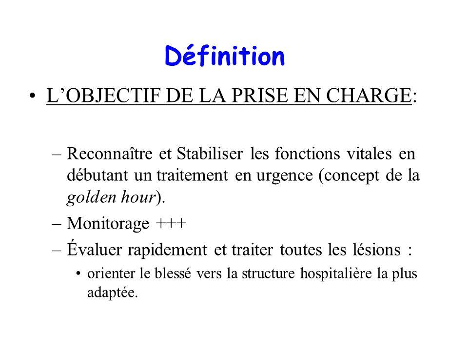 Définition LOBJECTIF DE LA PRISE EN CHARGE: –Reconnaître et Stabiliser les fonctions vitales en débutant un traitement en urgence (concept de la golde