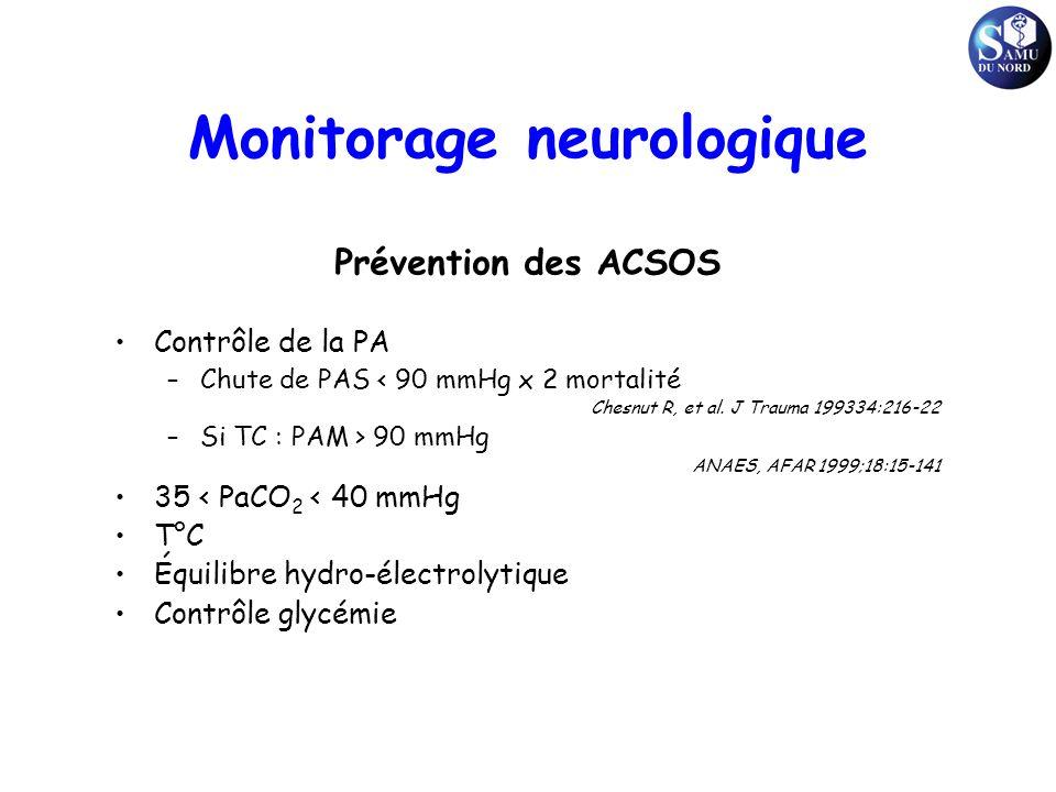 Prévention des ACSOS Contrôle de la PA –Chute de PAS < 90 mmHg x 2 mortalité Chesnut R, et al. J Trauma 199334:216-22 –Si TC : PAM > 90 mmHg ANAES, AF
