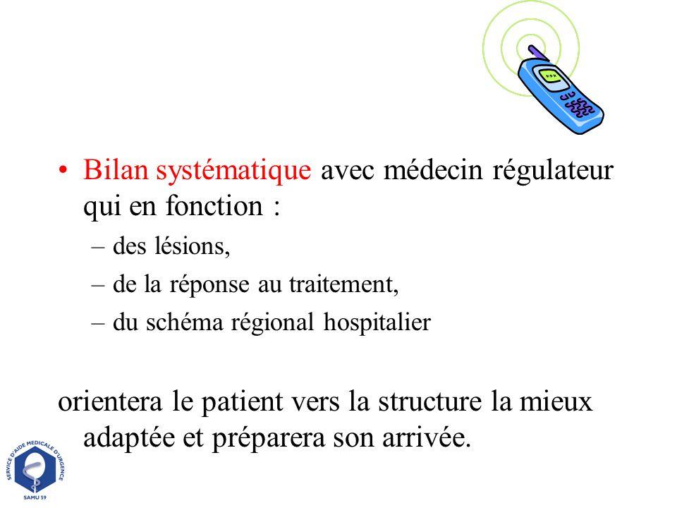 Bilan systématique avec médecin régulateur qui en fonction : –des lésions, –de la réponse au traitement, –du schéma régional hospitalier orientera le