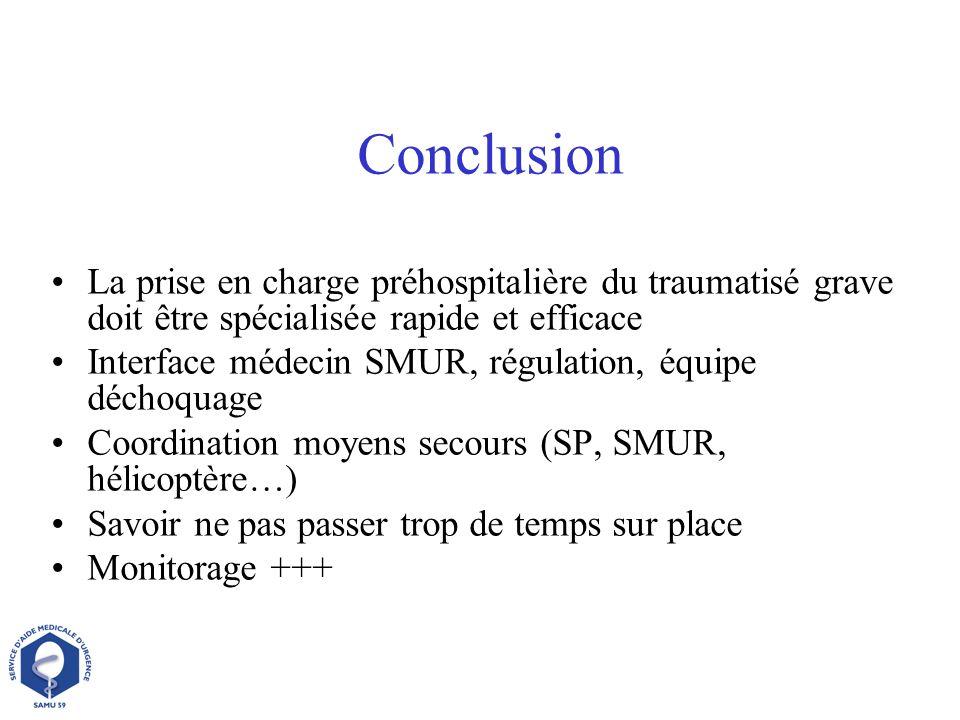 Conclusion La prise en charge préhospitalière du traumatisé grave doit être spécialisée rapide et efficace Interface médecin SMUR, régulation, équipe