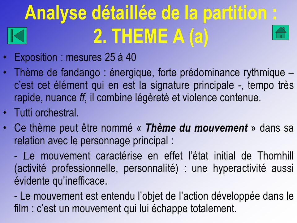 Analyse détaillée de la partition : 2. THEME A (a) Exposition : mesures 25 à 40 Thème de fandango : énergique, forte prédominance rythmique – cest cet