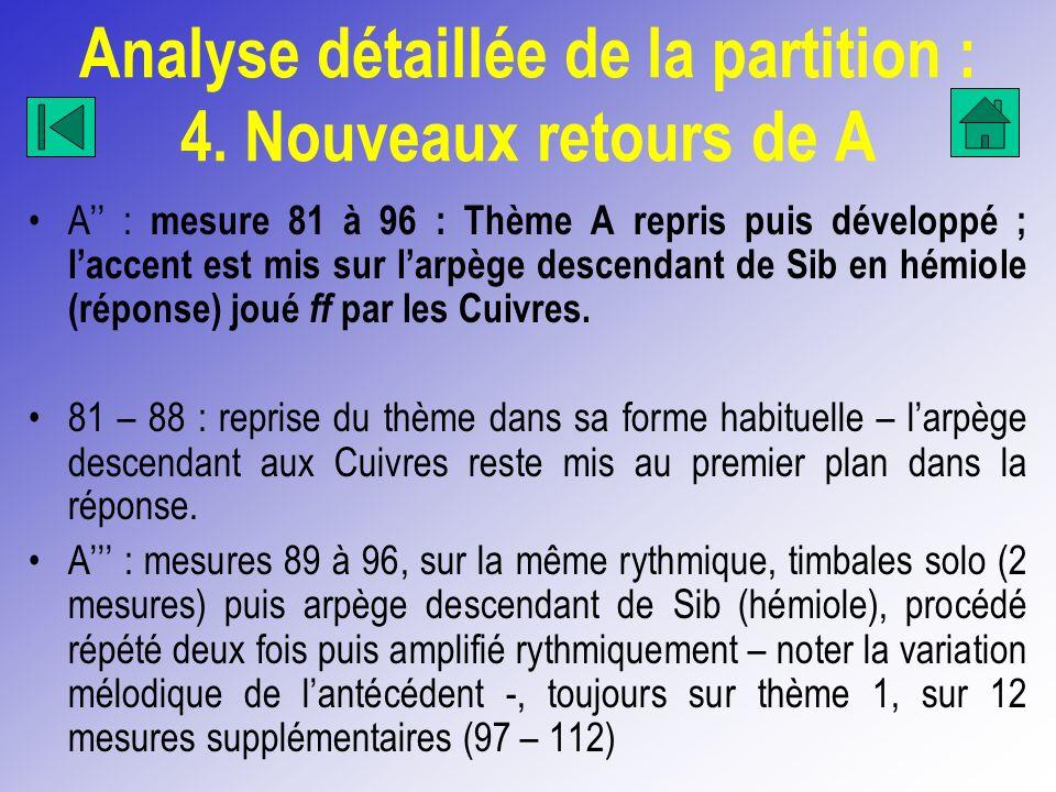 Analyse détaillée de la partition : 4. Nouveaux retours de A A : mesure 81 à 96 : Thème A repris puis développé ; laccent est mis sur larpège descenda