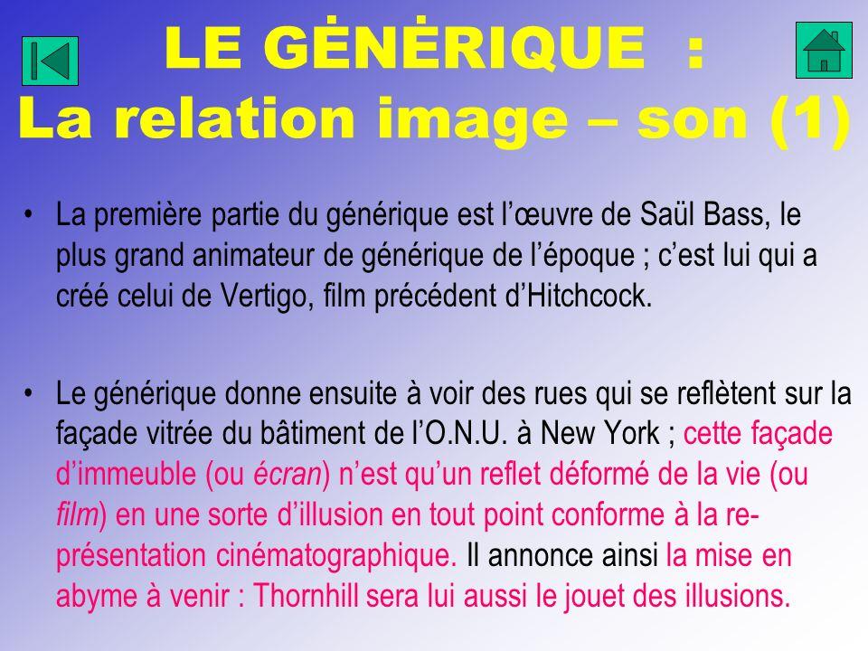 LE GĖNĖRIQUE : La relation image – son (1) La première partie du générique est lœuvre de Saül Bass, le plus grand animateur de générique de lépoque ;
