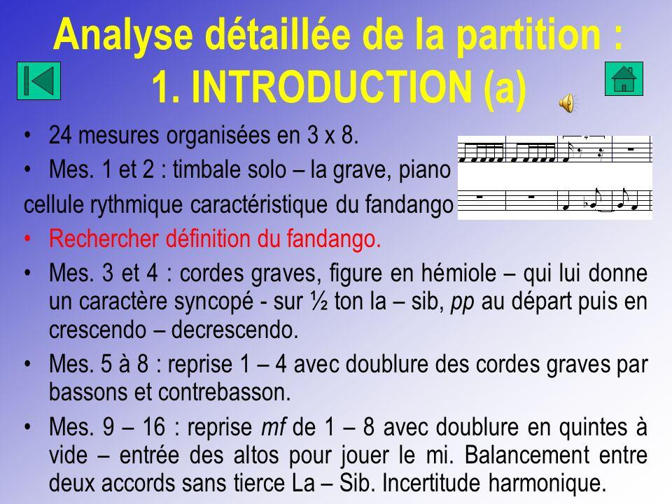 Analyse détaillée de la partition : 1. INTRODUCTION (a) 24 mesures organisées en 3 x 8. Mes. 1 et 2 : timbale solo – la grave, piano cellule rythmique