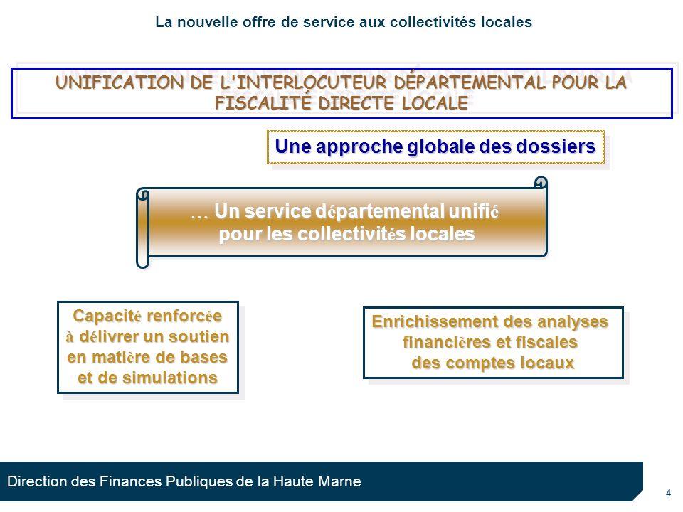 4 Direction des Finances Publiques de la Haute Marne Capacit é renforc é e à d é livrer un soutien en mati è re de bases et de simulations Capacit é r