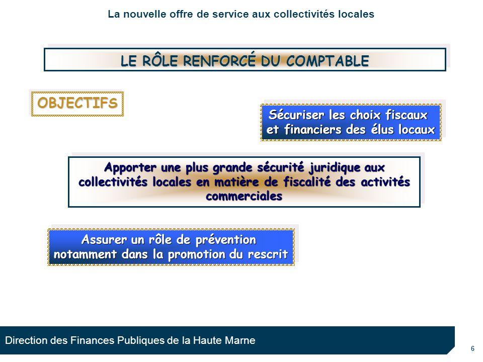 6 Direction des Finances Publiques de la Haute Marne Apporter une plus grande sécurité juridique aux collectivités locales en matière de fiscalité des