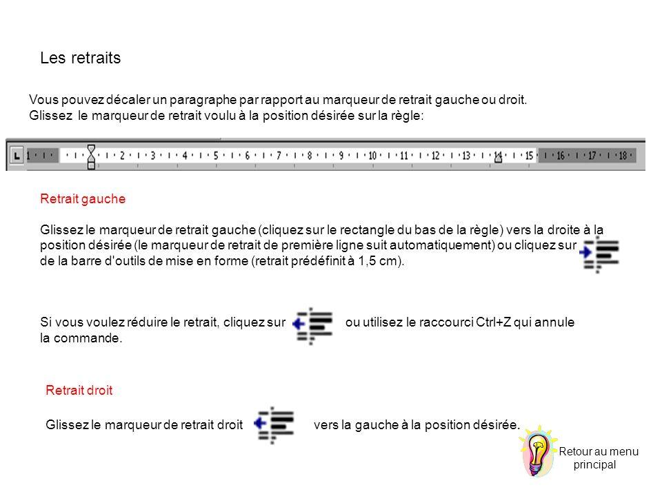 Vous pouvez décaler un paragraphe par rapport au marqueur de retrait gauche ou droit. Glissez le marqueur de retrait voulu à la position désirée sur l
