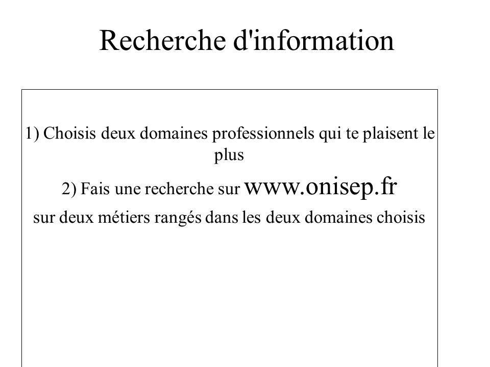 Recherche d'information 1) Choisis deux domaines professionnels qui te plaisent le plus 2) Fais une recherche sur www.onisep.fr sur deux métiers rangé
