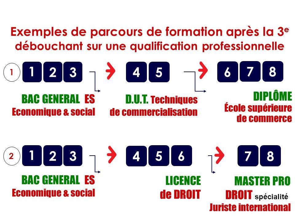 o BAC GENERAL ES Economique & social 1 2 1 345 o D.U.T. Techniques de commercialisation Exemples de parcours de formation après la 3 e débouchant sur