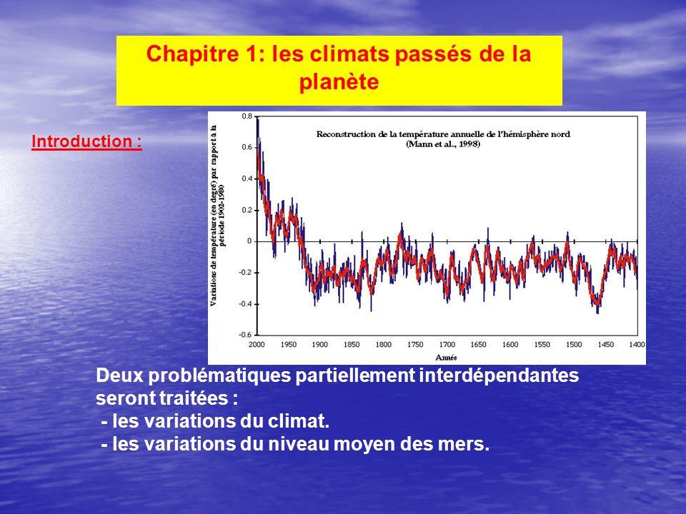 Chapitre 1: les climats passés de la planète Introduction : Deux problématiques partiellement interdépendantes seront traitées : - les variations du c