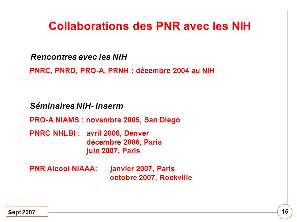 Sept 2007 15 Collaborations des PNR avec les NIH Rencontres avec les NIH PNRC, PNRD, PRO-A, PRNH : décembre 2004 au NIH Séminaires NIH- Inserm PRO-A N