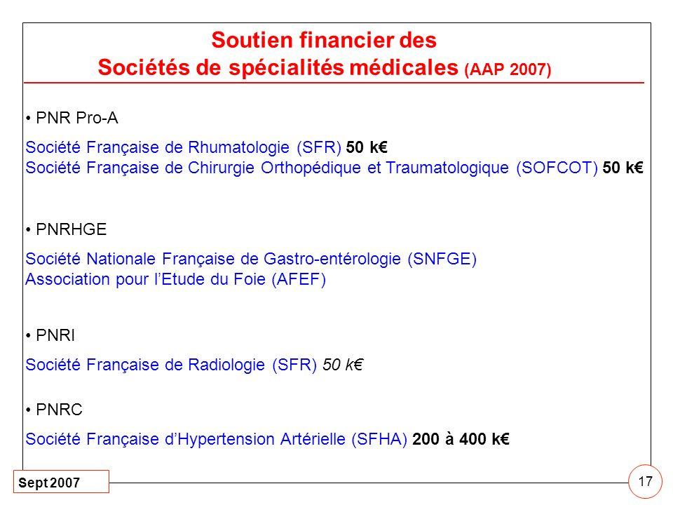 Sept 2007 17 Soutien financier des Sociétés de spécialités médicales (AAP 2007) PNR Pro-A Société Française de Rhumatologie (SFR) 50 k Société Françai