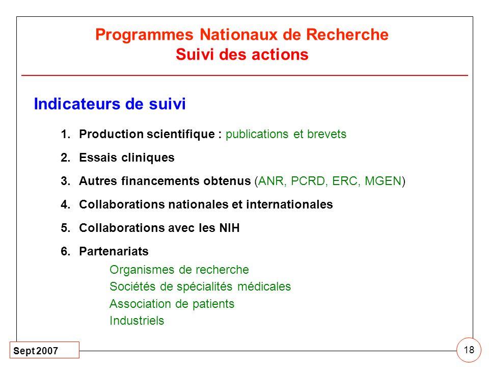 Sept 2007 18 Programmes Nationaux de Recherche Suivi des actions Indicateurs de suivi 1.Production scientifique : publications et brevets 2.Essais cli