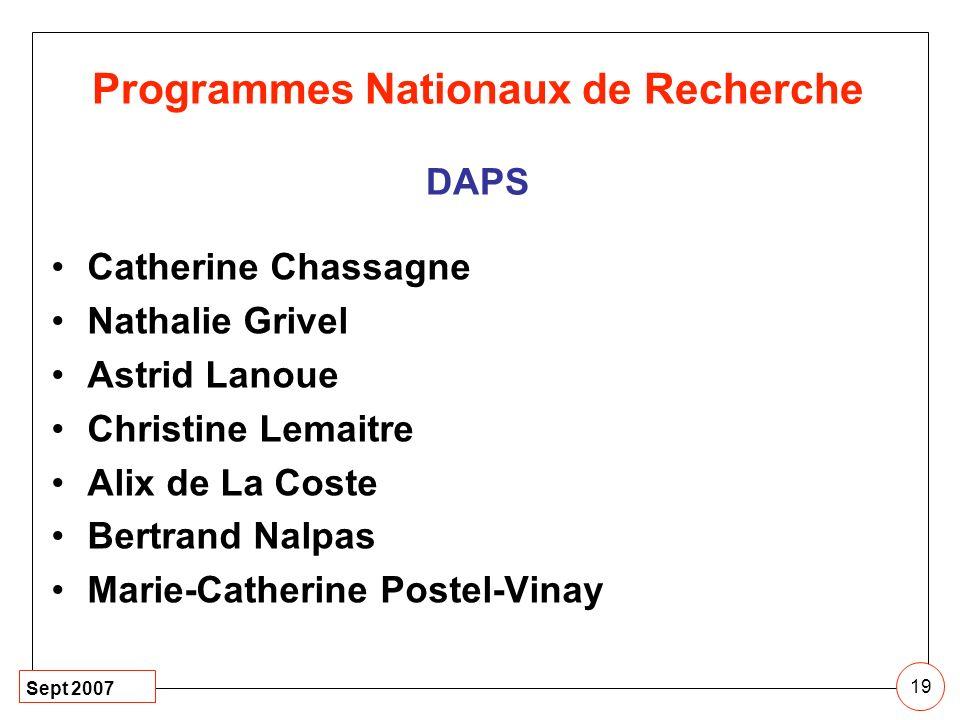 Sept 2007 19 Catherine Chassagne Nathalie Grivel Astrid Lanoue Christine Lemaitre Alix de La Coste Bertrand Nalpas Marie-Catherine Postel-Vinay Progra