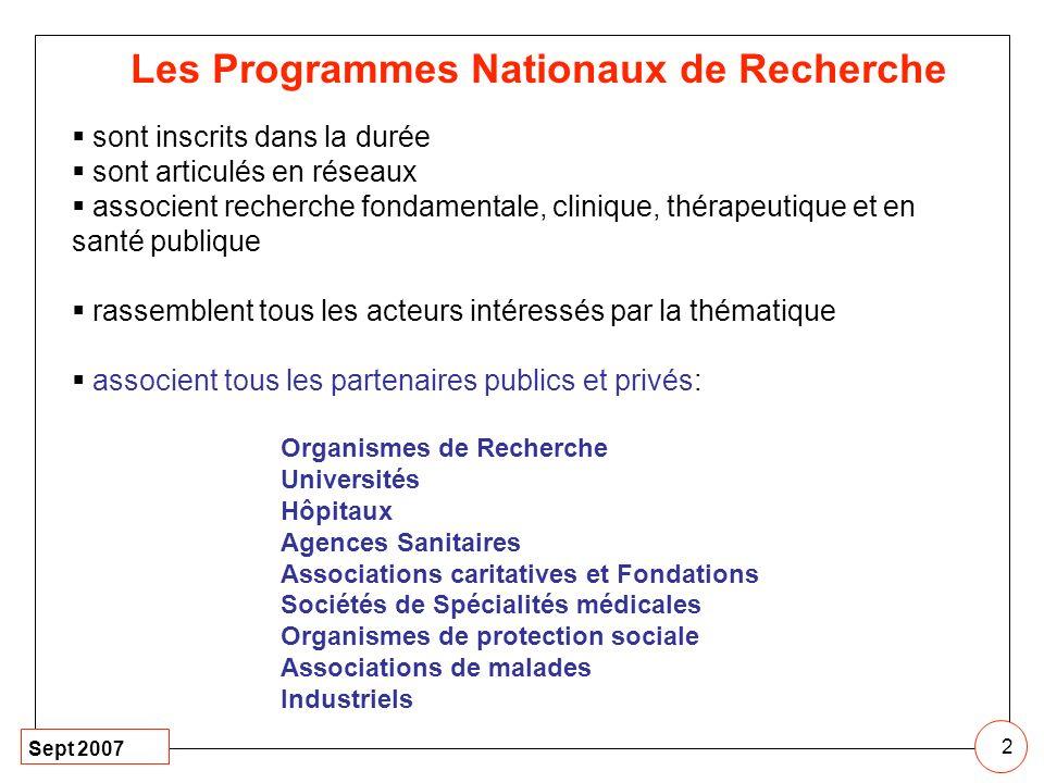 2 Les Programmes Nationaux de Recherche sont inscrits dans la durée sont articulés en réseaux associent recherche fondamentale, clinique, thérapeutiqu