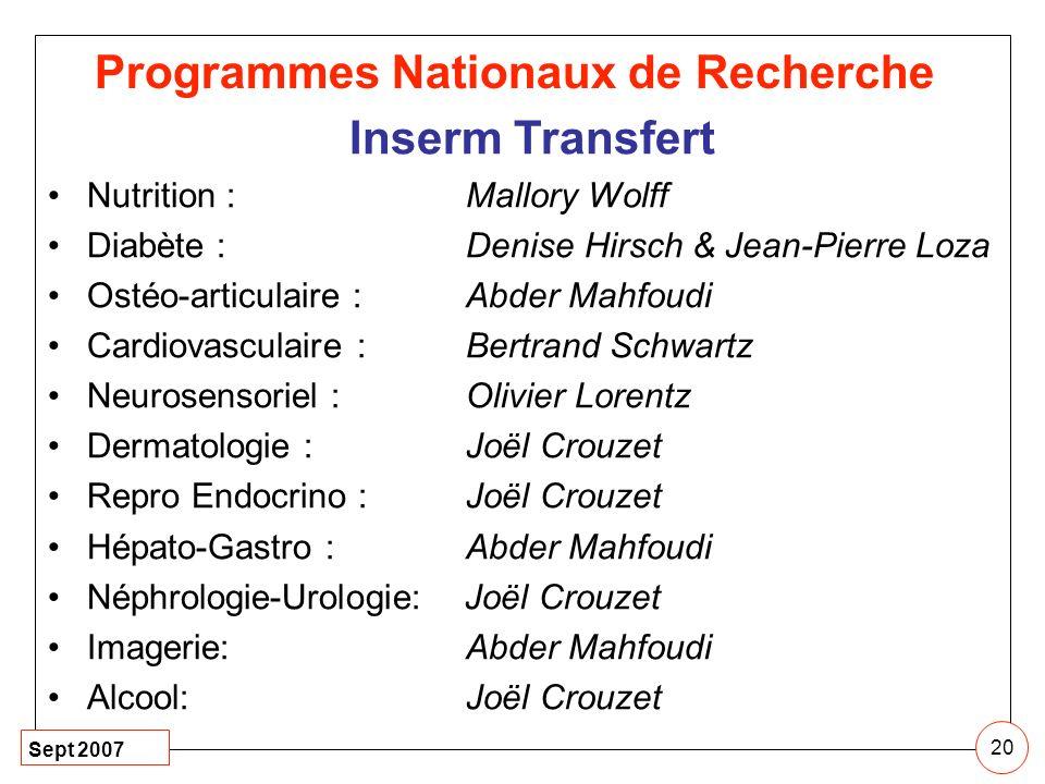 Sept 2007 20 Inserm Transfert Nutrition : Mallory Wolff Diabète : Denise Hirsch & Jean-Pierre Loza Ostéo-articulaire : Abder Mahfoudi Cardiovasculaire